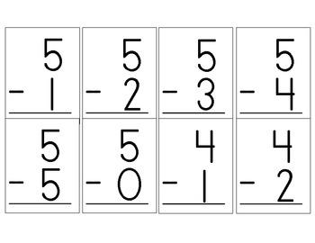 Common Core Subtraction Flashcards K.OA.5