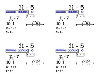 Common Core Subtraction Flashcards - subtracting five and four