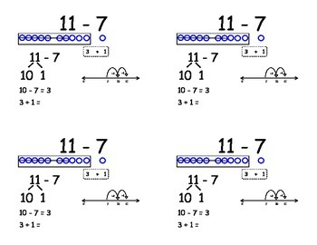 Common Core Subtraction Flashcards - subtracting six and seven