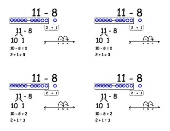 Common Core Subtraction Flashcards - subtracting eight