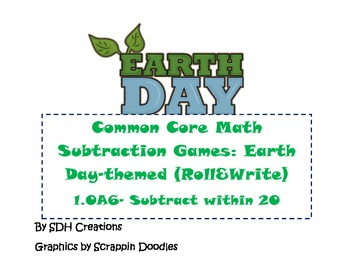 Common Core Subtraction Games: Set 2 (1.OA6) Earth Day Themed