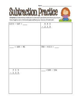 Common Core Subtraction Practice Pages