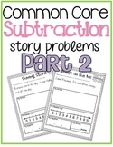 Common Core Subtraction Story Problems {part 2} K.OA.2