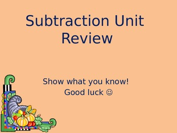 Common Core Subtraction Unit Review PPoint