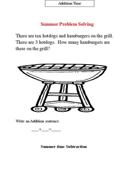 Common Core Summer Additon and Subtraction  Problems