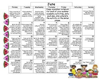 Common Core Summer Calendar 2014