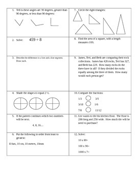 Common Core Summer Practice Packet Grade 4 Standards