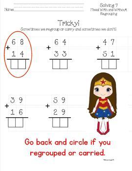 Common Core, Super Hero Double Digit Addition With and Without Regrouping