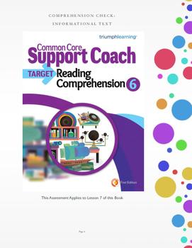 Common Core Support Coach Unit 7: Corresponding Assessment