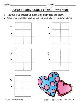 Common Core Sweet Hearts Subtraction w/ Borrowing - 2.NBT.B.5, 6, 7 & 3.NBT.A.2