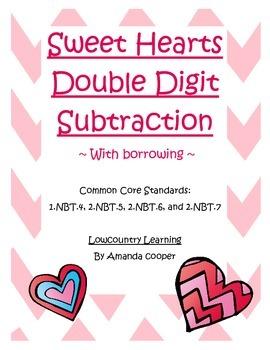 Common Core Sweet Hearts Subtraction w/ Borrowing - 2.NBT.