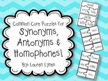 Common Core Synonym, Antonym & Homophone Puzzles!