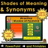 Synonyms and Shades of Meaning POWERPOINT Lessons and WORKSHEETS