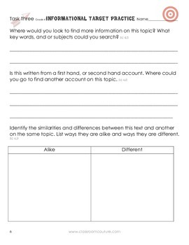 Common Core - Target Practice - Informational 4th Grade by Classroom Couture