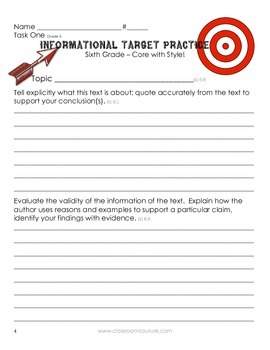 Common Core - Target Practice - Informational  Grade 6 by Classroom Couture