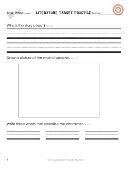 Common Core - Target Practice - Literature 1st Grade by Classroom Couture