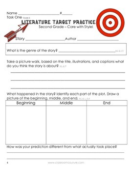 Common Core - Target Practice - Literature 2nd Grade by Classroom Couture