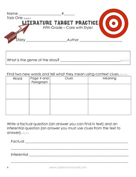 Common Core - Target Practice - Literature 5th Grade by Classroom Couture