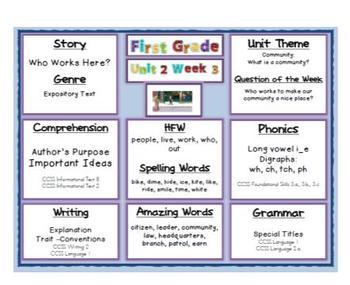 2011 Common Core Target Skills Reading Street 1st Grade Unit 2