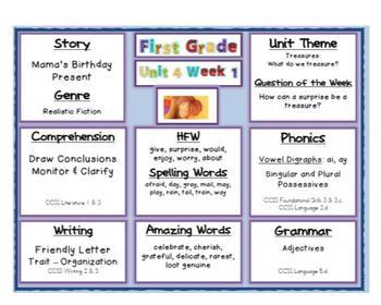 2011 Common Core Target Skills Reading Street 1st Grade Unit 4