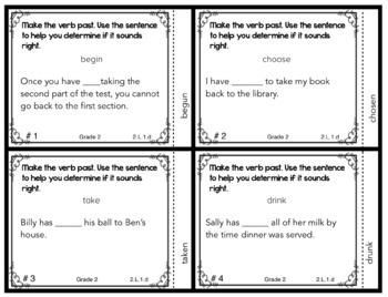 Past Tense of Irregular Verbs Task Cards  2.L.1.d for Second Grade