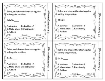 Addition with Fluency Task Cards 2.OA.2