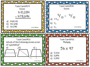Common Core Task Cards - 4th Grade Math