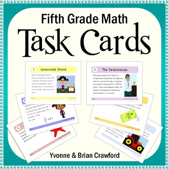 Math Task Cards - Fifth Grade Math - All Math Standards Covered