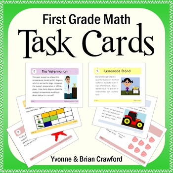 Math Task Cards - First Grade Math Common Core - All Math Standards Covered