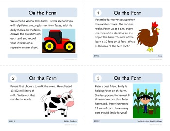 Math Task Cards - Fourth Grade Math Common Core - All Math Standards Covered