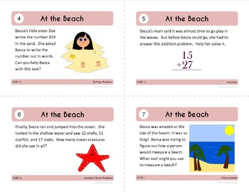 Math Task Cards Second Grade Math Common Core - All Math Standards Covered