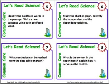 Common Core Science Task Cards