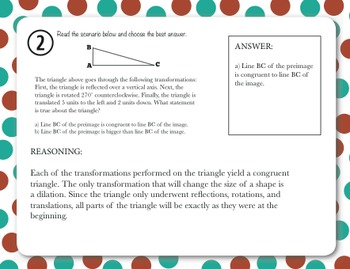 Common Core Task Cards_8th Grade Geometry Standards with QR Code Answer Key