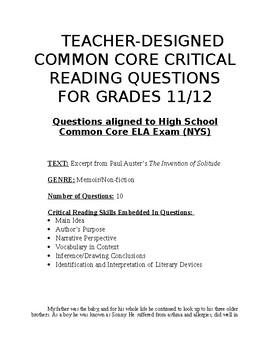 Common Core Teacher-Designed Critical Reading Questions