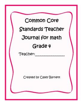 Common Core Teacher Journal Grade 4 Math Standards