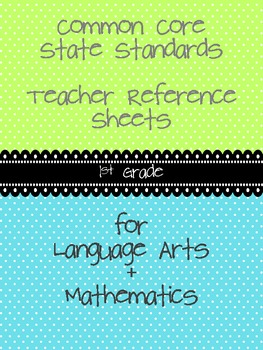 Common Core Teacher Reference Sheets - 1st Grade