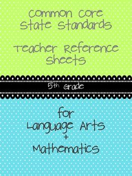 Common Core Teacher Reference Sheets - 5th Grade