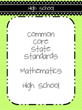 Common Core Teacher Reference Sheets - High School Mathematics