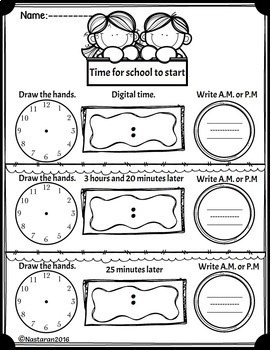 telling time worksheets to the nearest 5 minutes by nastaran tpt. Black Bedroom Furniture Sets. Home Design Ideas
