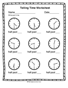 common core telling time worksheets by first grade common core tpt. Black Bedroom Furniture Sets. Home Design Ideas