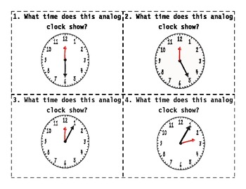 Common Core Telling Time to the Five Minutes Task Cards