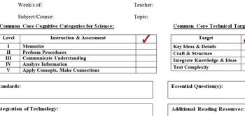 Common Core Template for Science