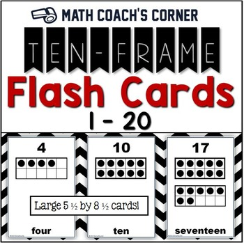 Common Core: Ten-Frame Flash Cards, 1-20 by Math Coach\'s Corner | TpT