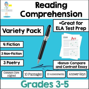 Reading Test Prep Assessments - Non-fiction * Fiction * Poetry * Essay