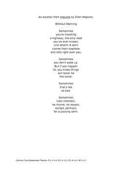 Common Core Test Prep with Poetry (An Excerpt from Ellen Hopkin's Impulse)