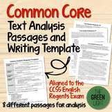 Common Core Text Analysis Passages and Writing Template