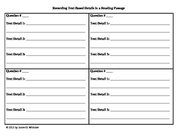 Common Core Text Based Rubric Questions Graphic Organizer 4x4
