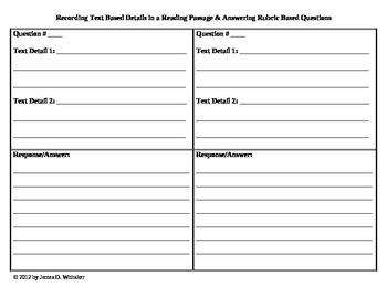 Common Core Text Based Rubric Questions Graphic Organizer Complete