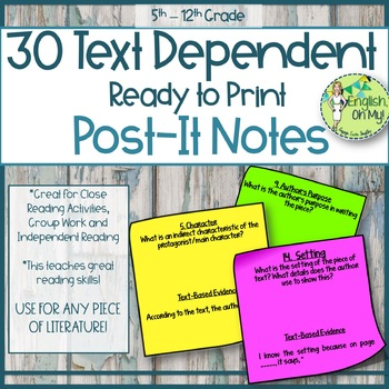 Text-Dependent Questions-30 Printable Post-It Notes for Literacy Activities