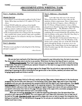 Common Core Text-Dependent Writing Prompt Argumentative Grade 6
